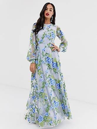 b7eec188e0b Asos embroidered maxi dress with open back - Blue