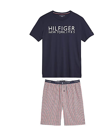 1fcadfb2bf Tommy Hilfiger Kurzpyjama, bedrucktes Oberteil, karierte Shorts - BLAU - TOMMY  HILFIGER