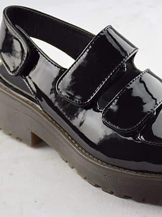 Truffle New Het 21 Black Patent Punk Ladies Vegan Open Shoes Sandals[Ladies UK 6 / EU 39]