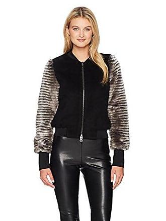 Ramy Brook Womens Nicole Jacket, Striped Faux Fur, L