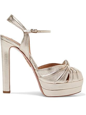78d7ef9648c Aquazzura Evita 130 Metallic Leather Platform Sandals - IT39.5