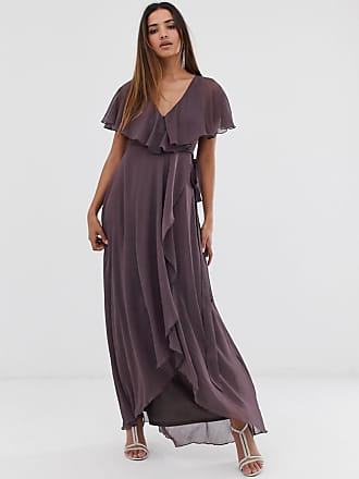 aee4bbed5f Asos Robe longue avec ourlet plongeant et dos effet cape - Violet