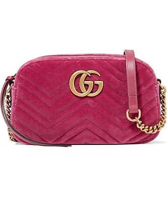 affe15c8dd4 Gucci Gg Marmont Camera Mini Leather-trimmed Quilted Velvet Shoulder Bag -  Pink