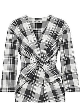 Diane Von Fürstenberg Diane Von Furstenberg Woman Tie-front Checked Cotton Top Stone Size L