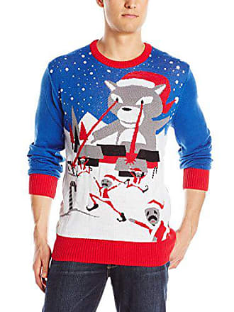 Hybrid Mens X-Mas Cat Attack Sweater, Blue, X-Large