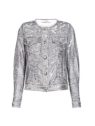 Iro Dalome Metallic Sequined Collarless Jacket Silver
