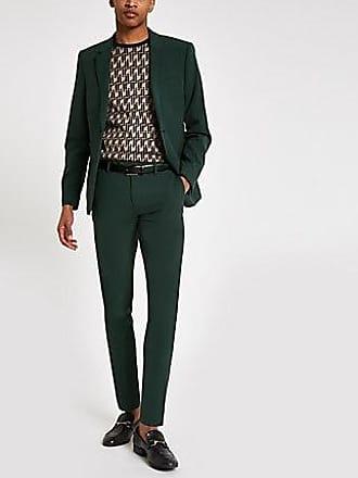 River Island Mens Dark green super skinny suit pants