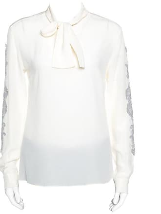 8ad4dad19d0a5 Dolce   Gabbana Dolce And Gabbana Cream Silk Lace Applique Bow Tie Detail  Blouse S