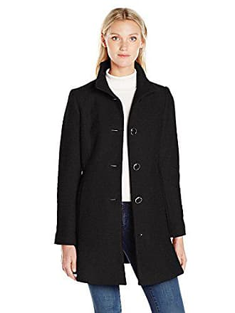 Kensie Womens Stand Collar Button Up Wool Skirted Coat-j9401, Black, XS