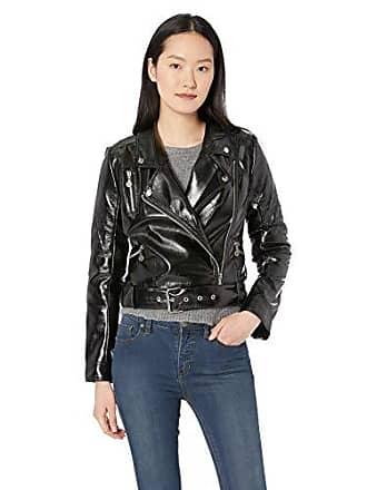 Nicole Miller Womens Pleather Moto Jacket, Black Large