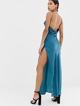 979d005e26 Missguided satin cowl neck maxi slip dress in blue - Blue