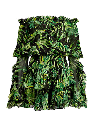 Caroline Constas Dahlia Off-Shoulder Ruffled Mini Dress Green/black