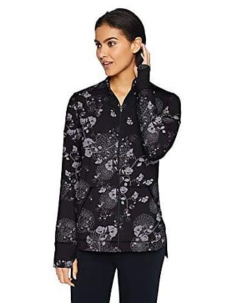 Natori Womens Jersey Zip-Up Jacket, Black/Grey, M