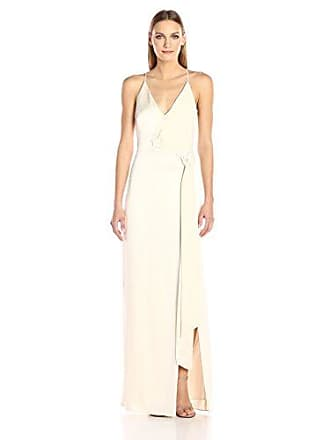 4ec61c96 Halston Heritage Womens Sleeveless V Neck Satin Slip Gown with Sash, Cream,  12