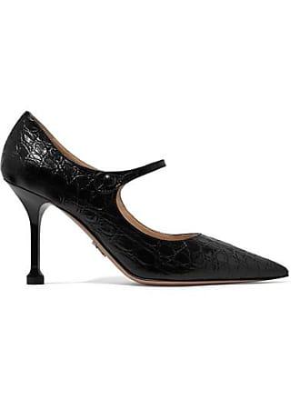 daf6a9daf93 Prada 90 Croc-effect Leather Mary Jane Pumps - Black