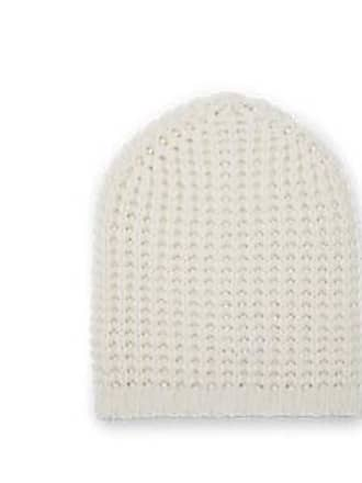 24f22574bc3 Barneys New York Mens Waffle-Knit Wool-Cashmere Beanie - White