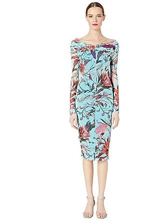 Fuzzi Botanical Floral Tulle Print Off the Shoulder Pencil Dress (Limpido) Womens Dress