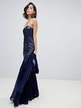 3cf7ed93dac79 strappy detail maxi dress with thigh split - Blue. Delivery: free. City  Goddess Bandeau Scatter Sequin Chiffon Maxi Dress With Scarf - Navy