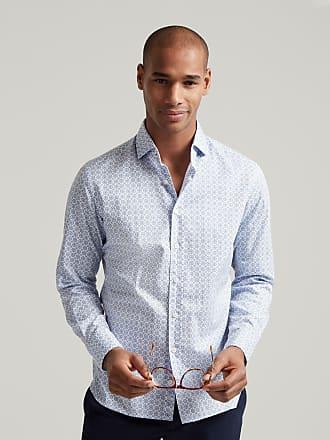Hackett Mens Tile Print Poplin Cotton Shirt | Medium | White/Blue