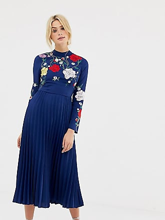 163be6a013c90 Asos Tall ASOS DESIGN Tall pleated high neck midi dress with embroidery
