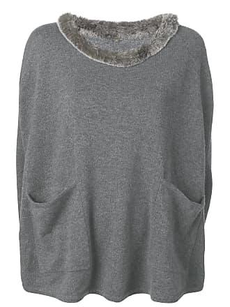 N.Peal Fur Pocket Cashmere Poncho - Grey