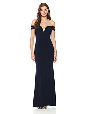 Xscape Womens Long Off The Shoulders Dress, Navy, 8