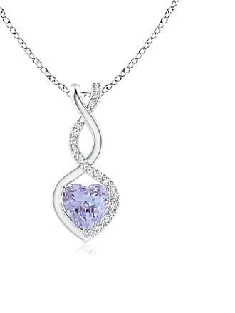 Angara Valentine Day Sale - Tanzanite Infinity Heart Pendant with Diamonds