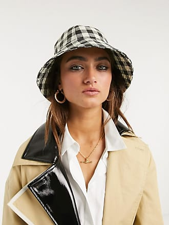 Topshop gingham bucket hat in black and white