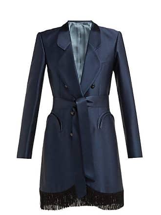 Blazé Milano Lets Fly Sunshine Belted Fringed Silk Midi Dress - Womens - Navy