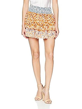 Ramy Brook Womens Printed Annabelle Skirt, White/Tiger Lily Combo Large