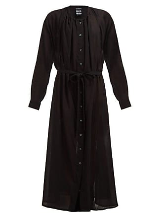 Ann Demeulemeester Gathered Cotton Shirtdress - Womens - Black
