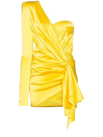 Alexandre Vauthier Vestido de um ombro só com drapeado mini - Amarelo