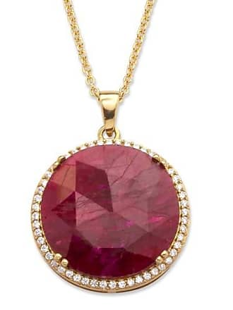 PalmBeach Jewelry 23.92 TCW Genuine Hand-Cut Round Ruby and Pave CZ Necklace in 14k Gold over Sterling Silver 18