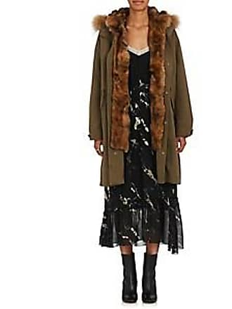 Pas de Calais Womens Fur Embellished Parka - Dark Green Size 38 FR d4f74a4e2