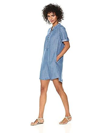 Chelsea & Theodore Womens Short ROLL TAB Sleeve with LACE UP Split Neck Tunic Dress, Chambray, Large