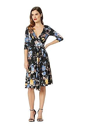 Unique Vintage Floral Wrap Dress (Black/Blue Floral) Womens Dress