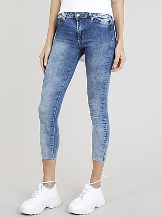 Sawary Calça Jeans Feminina Cropped Sawary com Barra a Fio Azul Médio