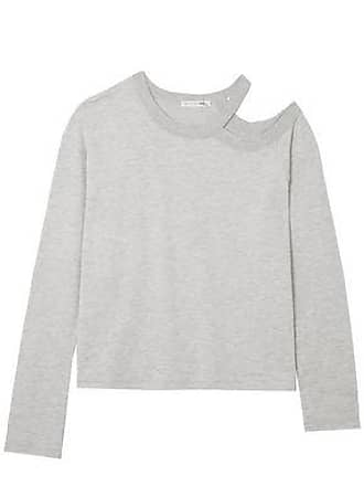 Rag & Bone Rag & Bone Woman Cutout Modal-blend Top Light Gray Size XS