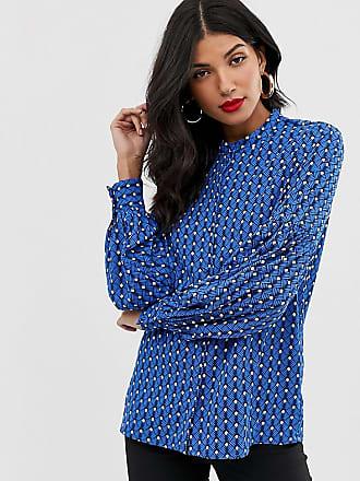 Y.A.S. Tall Bluse mit Ballonärmeln und geometrischem Muster-Mehrfarbig