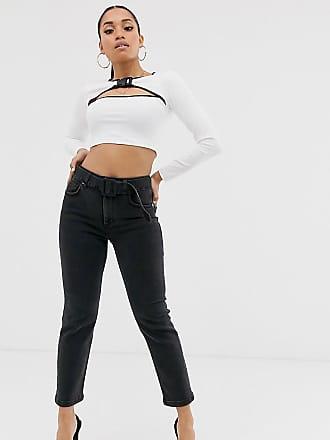 13c2b1524e095 Asos Petite ASOS DESIGN Petite - Jean slim taille haute avec ceinture -  Noir délavé -