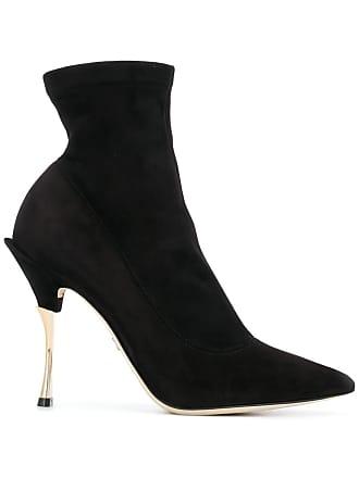 Dolce & Gabbana Ankle boot bico fino de couro e camurça - Preto