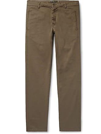Aspesi Slim-fit Tapered Garment-dyed Cotton-blend Twill Trousers - Mushroom