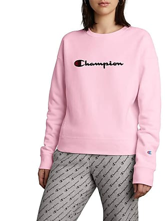 d13a2dc1 Champion Womens Reverse Weave Crew, Chainstitch Script (Small, Pink Candy)