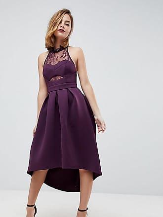 Asos Petite Halter Lace Top Dip Back Prom Dress - Purple