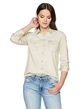 a56e9459 Calvin Klein Jeans Womens Long Sleeve Denim Button Down Shirt, Western  Ecru, XL