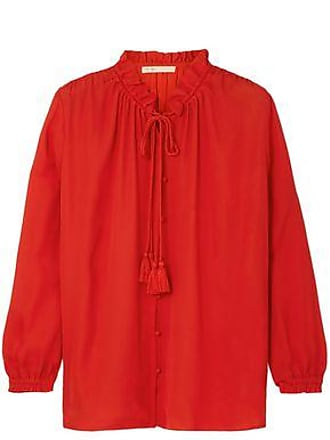 Maje Maje Woman Ruffle-trimmed Pussy-bow Crepe De Chine Shirt Red Size 3