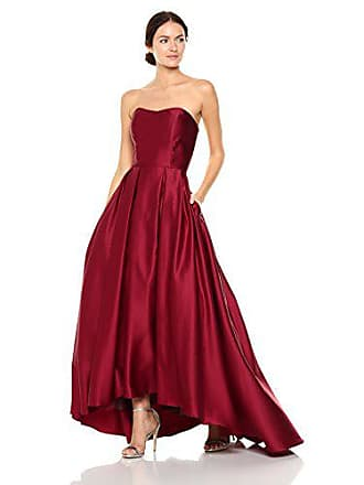 Betsy & Adam Womens Strapless Ball Gown, Burgundy, 4