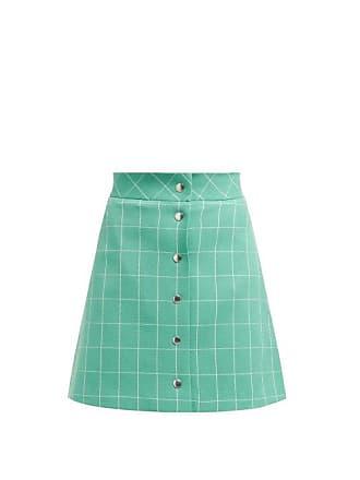 5e6d03f35 Sara Battaglia High Rise Checked Crepe Mini Skirt - Womens - Green White