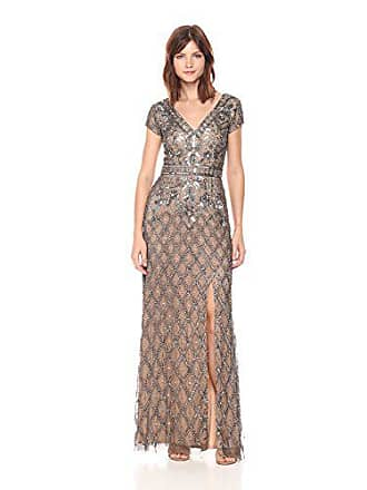 a20e5b193907 Adrianna Papell Womens V Neck Short Sleeve Beaded Deco Gown, Lead/Nude, 4