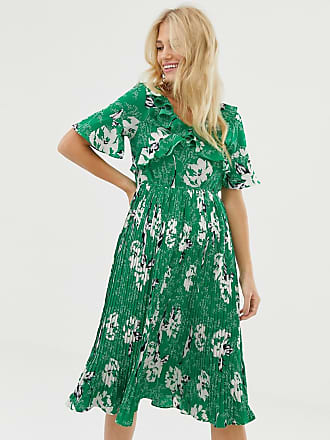 Liquorish floral midi dress with pleated skirt - Green